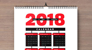 Free 2018 Wall Calendar Printable Design Template in Ai, PDF, EPS & CDR Format