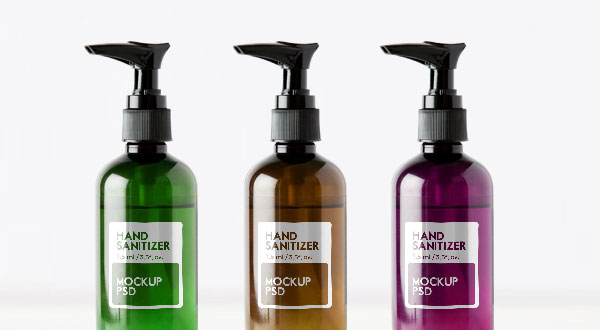 Free Sanitizer Glass Pump Bottle Dispenser Mockup PSD