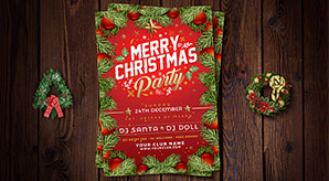 Free Christmas Party Flyer / Poster Design Template 2017 in Ai Format
