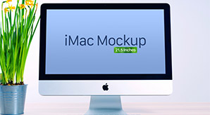 Free Apple iMac Mockup PSD (21.5 Inches)