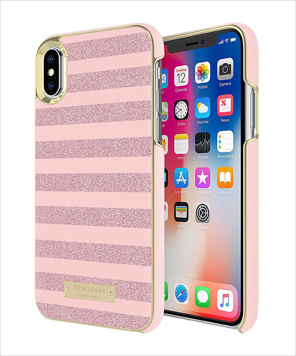 Kate-Spade-new-york-Wrap-Case-for-iPhone-X---Glitter-Stripe
