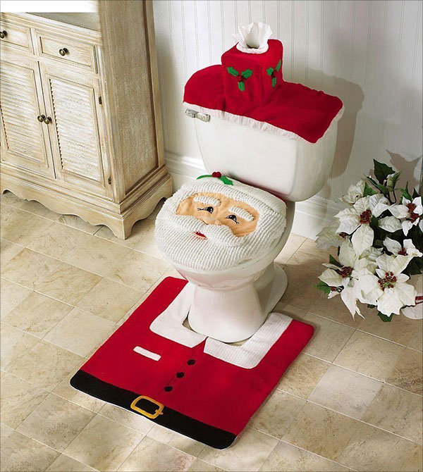New-HOT-Happy-Santa-Toilet-Seat-Cover-and-Rug