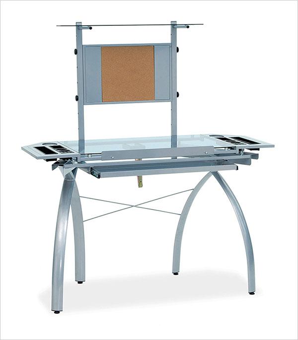 Studio-Designs-10057-Futura-Tower,-Silver-Blue-Glass