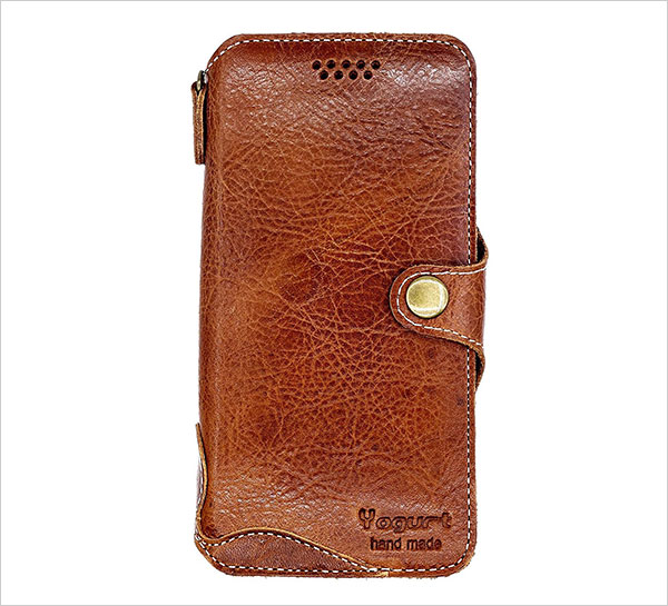 Yogurt-for-iPhone-X-Genuine-Leather-Wallet-Cases-Cover-Handmade-Dark-Brown