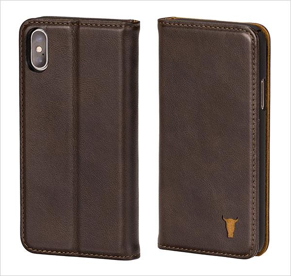 iPhone-X-Case,-Premium-Dark-Brown-Leather-Stand-Case