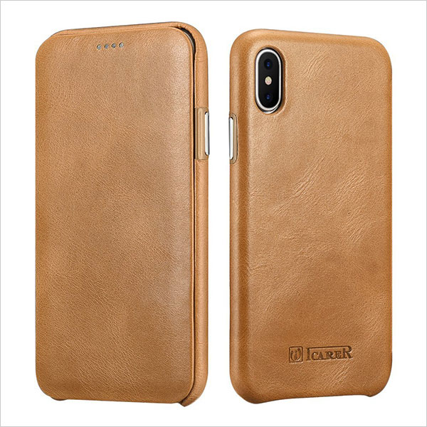 iPhone-X-Leather-Case,Icarercase-Genuine-Vintage-Leather-Flip-Folio-Opening-Cover-in-Curved-Edge-Design