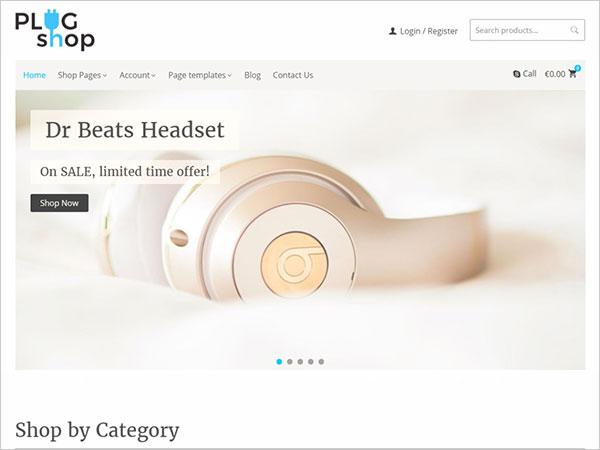 Modern-flat-design-of-Plug-Shop-theme-for-tech-ecommerce-website