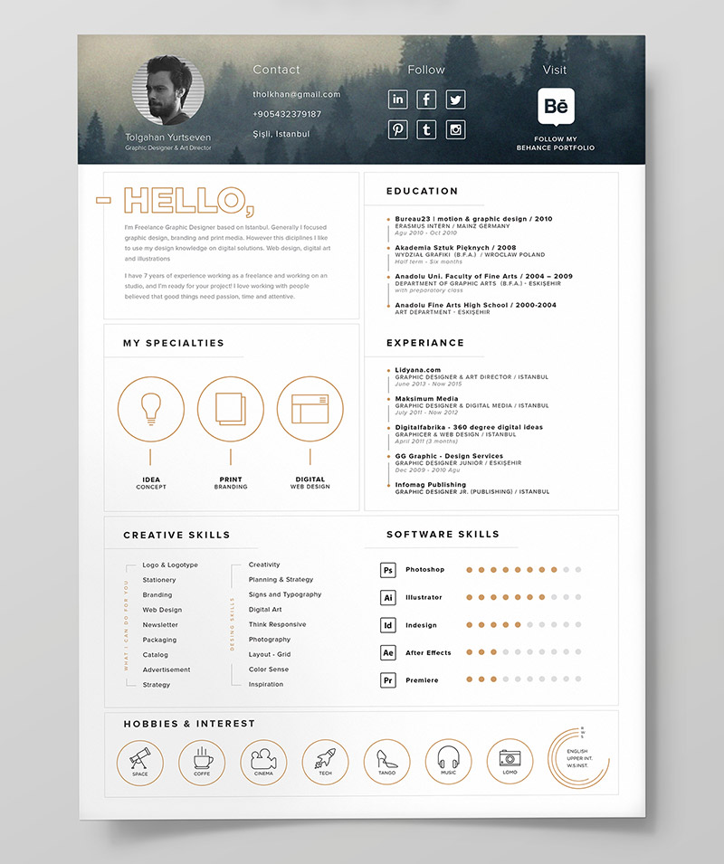 10 fresh free resume    cv  u0026 cover letter design templates