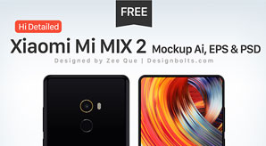 Free Hi-Detailed Xiaomi Mi MIX 2 Mockup Ai, EPS & PSD