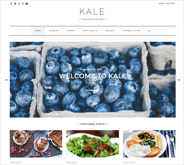 Kale-charming-and-elegant,-uncluttered-food-blog-theme-2018