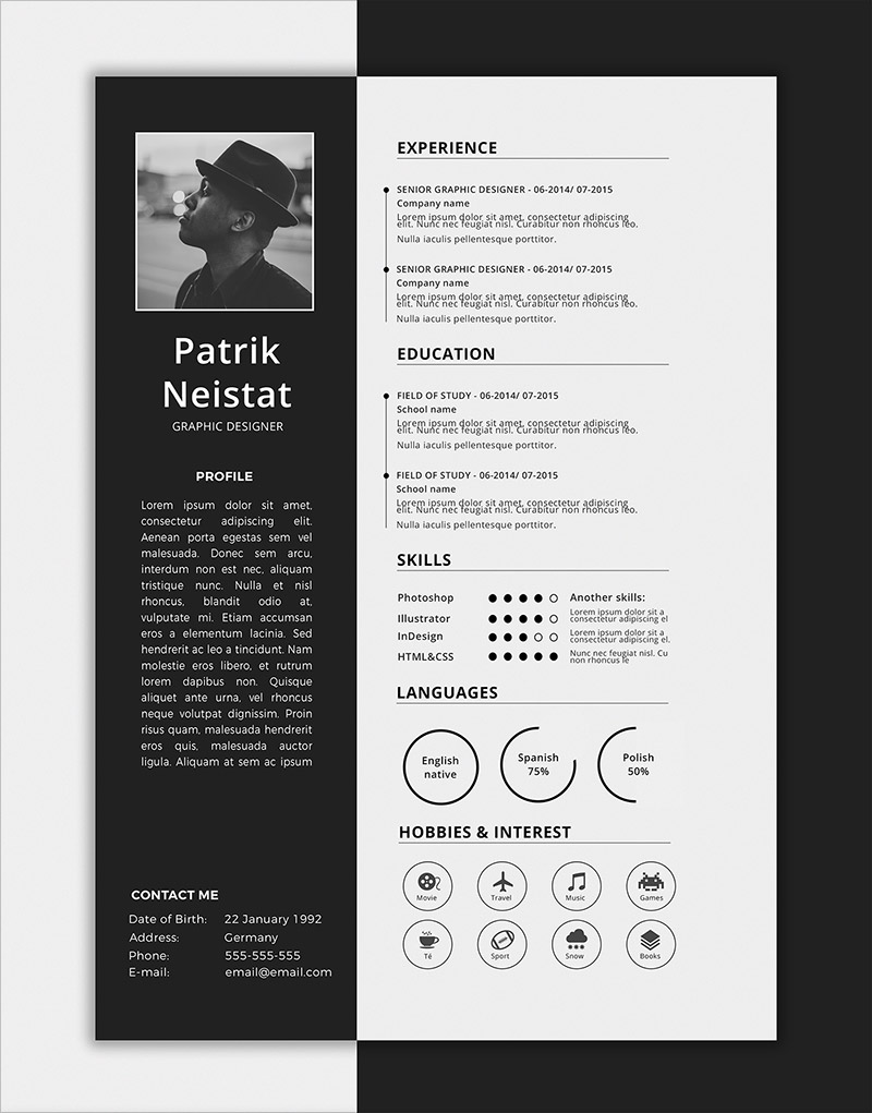 10 fresh free resume cv design templates 2018 in word psd ai indd formats. Black Bedroom Furniture Sets. Home Design Ideas