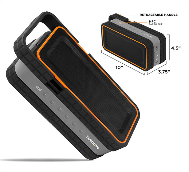 Turcom-AcoustoShock-30-Watt-Rugged-Water-Resistant-Wireless-Bluetooth-Speaker