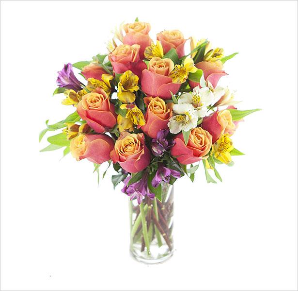 12-Orange-Roses,-4-Yellow-Alstroemeria,-2-White-Alstroemeria-and-2-Purple-Alstroemeria-with-Vase