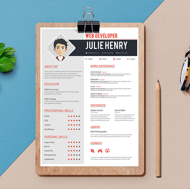 10 free professional resume  cv  template designs 2018 in psd  ai  u0026 word formats