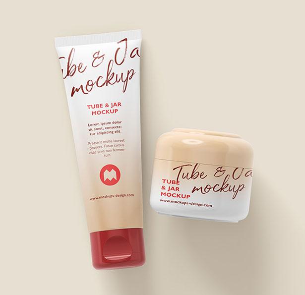 Free-Cosmetic-Tube-and-Cream-Jar-Mockup-PSD