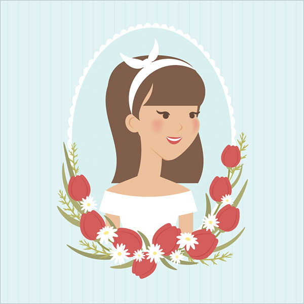 Vintage-Spring-Portrait-of-Girl-in-Adobe-Illustrator