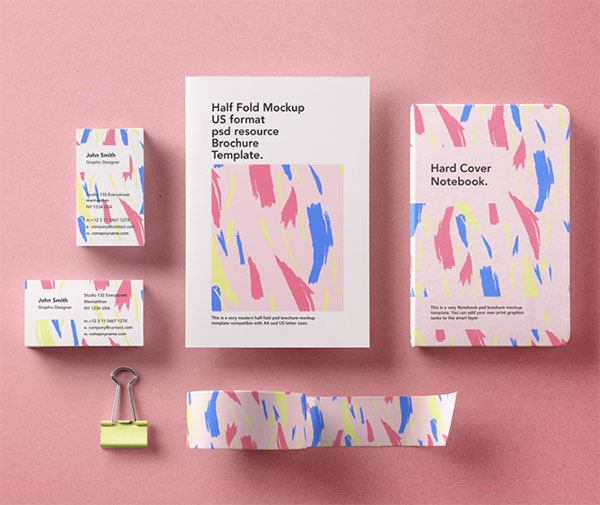 Basic-stationery-brandingbrochure-notebook-tape-clip-business-card-psd-mockup
