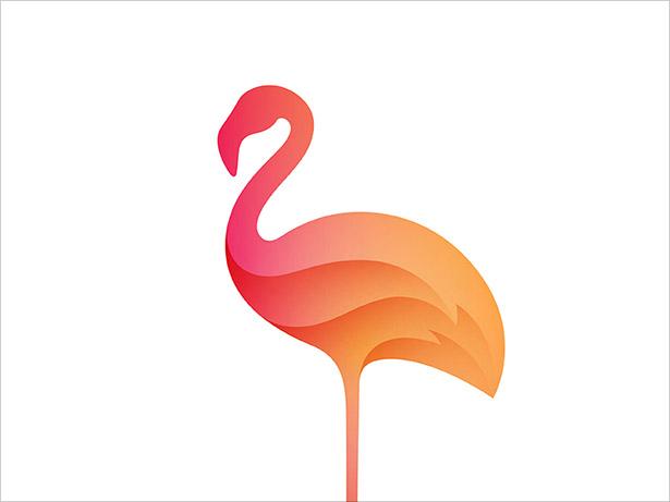 Flamingo-Ombre-Logo-Design