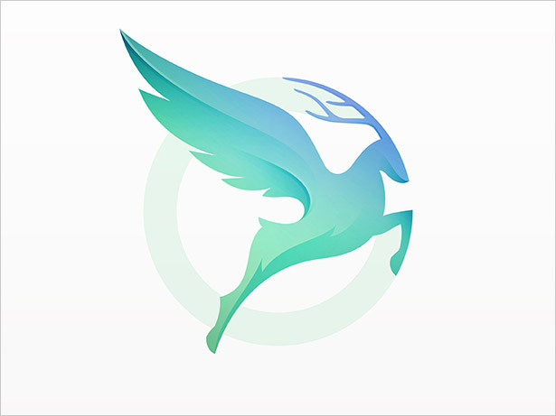 Flying-Deer-Ombre-Logo-Design