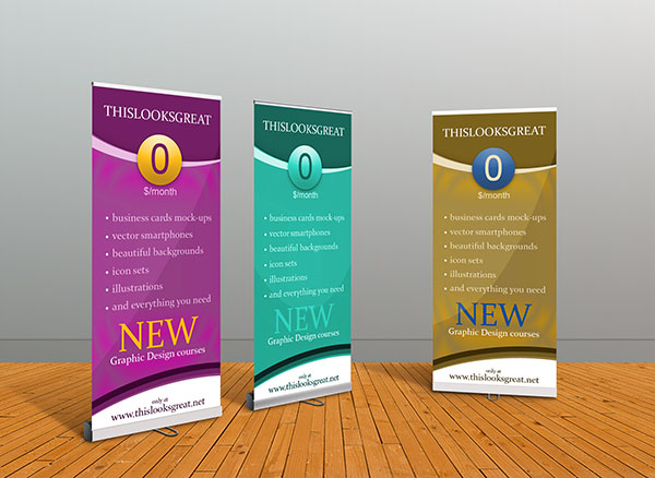 35+ Best Free X-Stand, Flag & Roll-up Standing Banner Mockup PSD Files