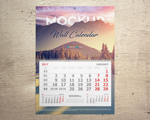 Monthly Calendar Mockup