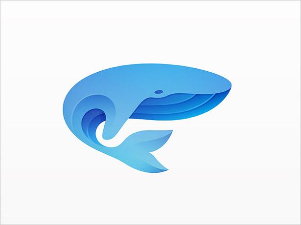 Ombre-Whale-Logo-Design