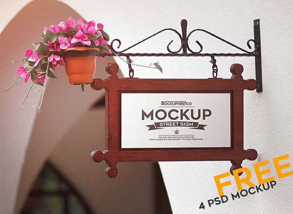 Free Street Sign PSD Mockups