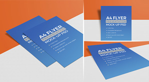 3 High Quality A4 Size Free Flyer Mockup PSD Set