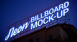 Free Electric Neon Sign Billboard Mockup PSD