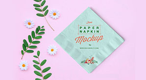 Free Table Paper Napkin Mockup PSD