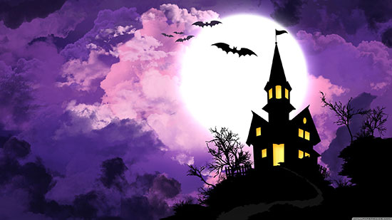 Halloween-Bat-and-Haunted-house-Wallpaper
