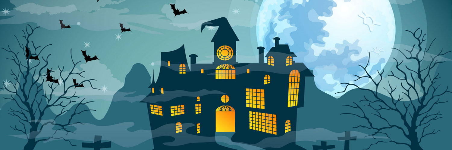 Vector-Halloween-Haunted-House-Twitter Google Plus Header Banner Cover Photo Image 2018
