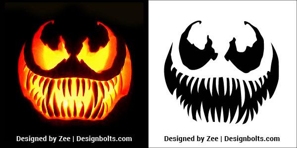 Free-Venom-Scary-Halloween-Pumpkin-Carving-Stencils,-Patterns,-Printable-Templates-&-Ideas-2018-