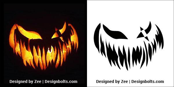 5 Free Trendy Scary Halloween Pumpkin Carving Stencils