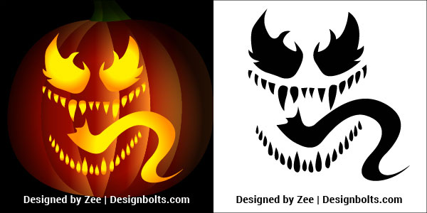 image regarding Halloween Cutouts Printable known as 5 Venom Pumpkin carving Stencils, Printable Behaviors, Suggestions