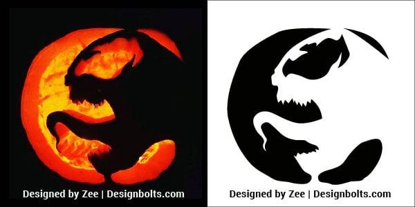 Simple Venom Pumpkin Carving Pattern / Printable Template
