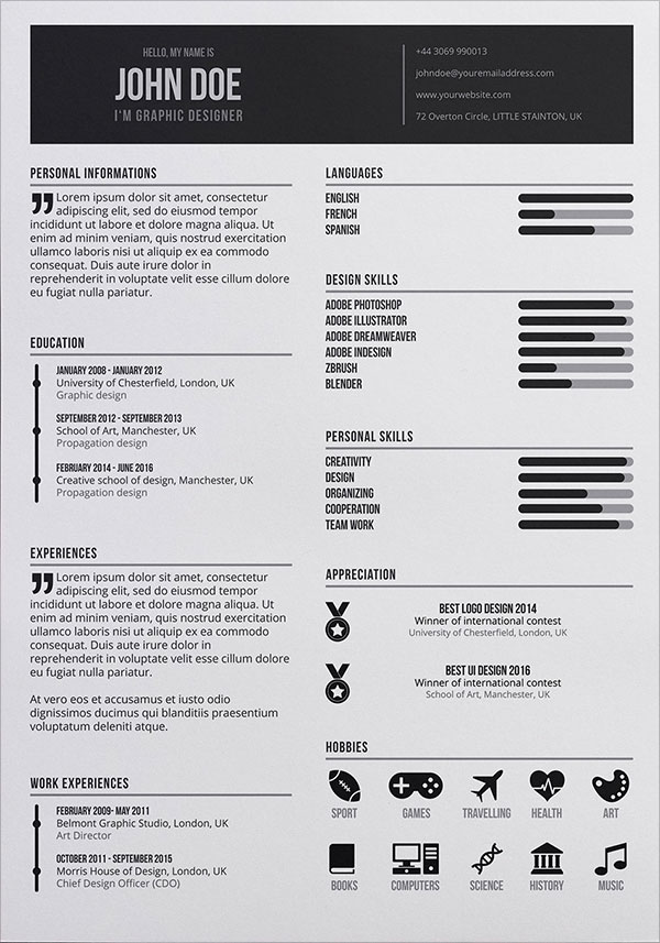Free Graphic Designer Resume In PSD Format 3