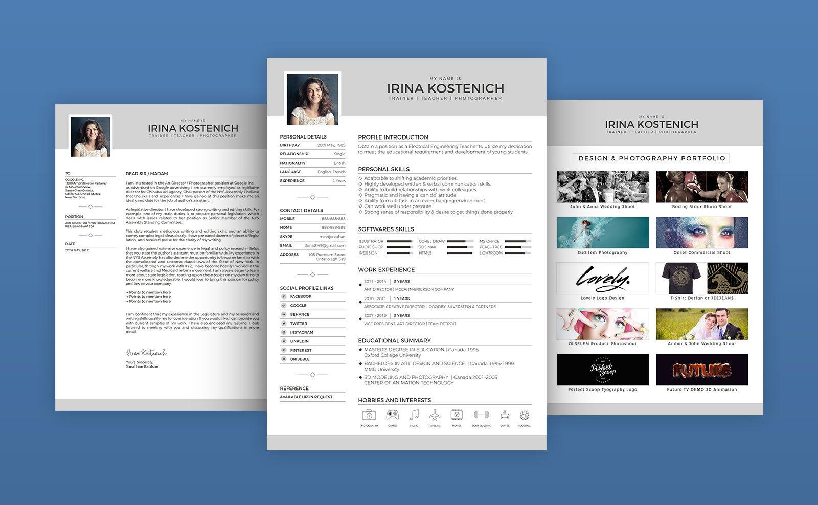 free modern cv template  cover letter  u0026 portfolio design template in vector ai