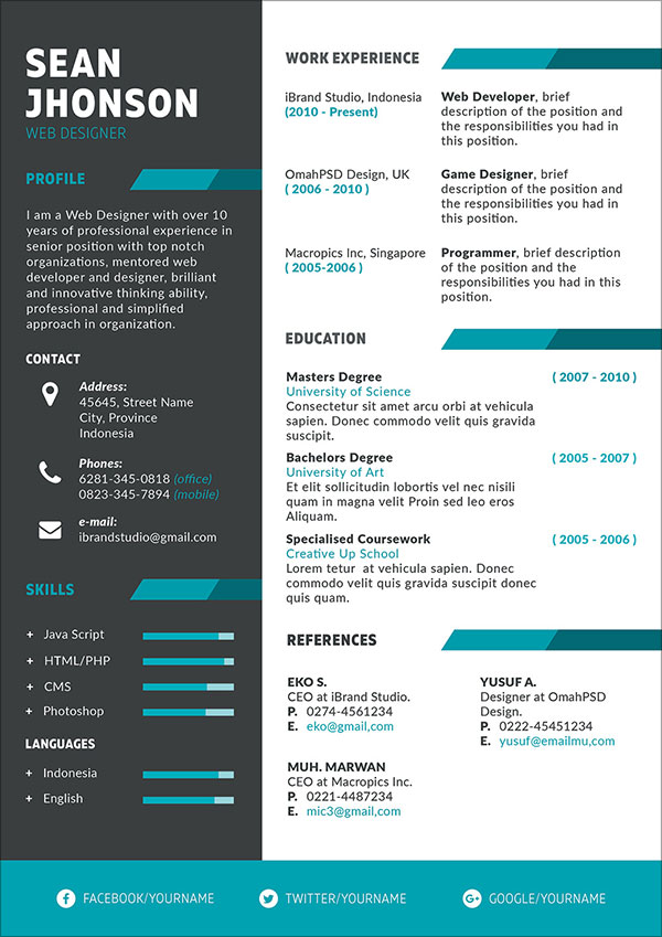 50 free resume   cv template in psd  ai  word  indd  sketch