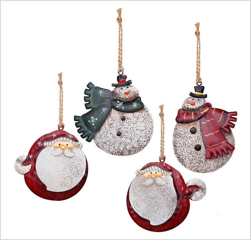 4-Pieces-Christmas-Tin-Metal-Snowman-Santa-Ornaments
