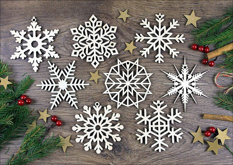 8-Laser-Cut-Wood-Christmas-Snowflake-Ornaments