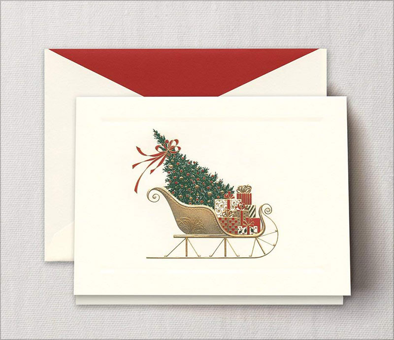 Crane-Engraved-Santa's-Sleigh-Greeting-Card,-Set-of-20-Cards