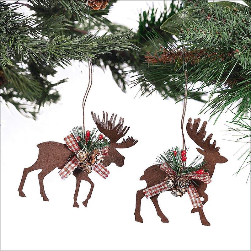 Metal-Die-Cut-Moose-&-Deer-Christmas-Ornaments
