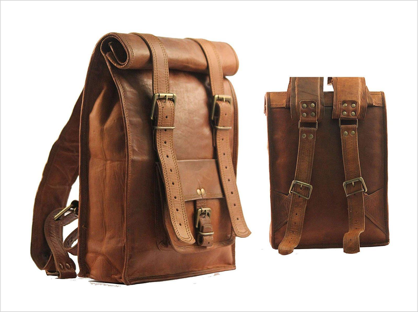 World-15-Inches-Brown-Vintage-Leather-Backpack-Laptop-Messenger-Bag
