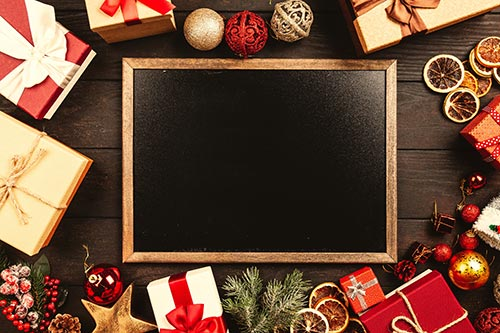 christmas-gifts-with-chalkboard-stock-image