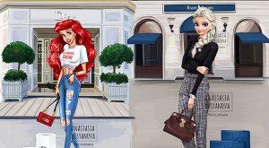 19-Beautiful-Illustrations-of-Disney-Princess-using-Luxury-Brands
