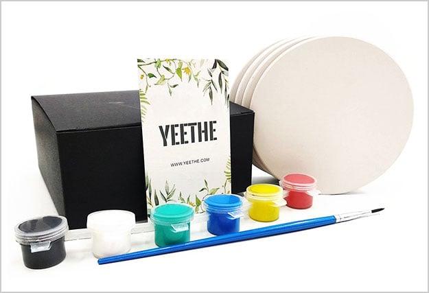 DIY-Coasters-Absorbent-Stone,-4-Pack-Stone-Ceramic