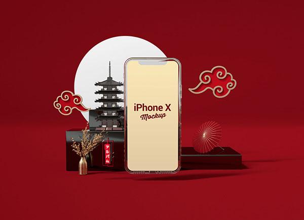 Free-3D-Environment-iPhone-X-Mockup-PSD