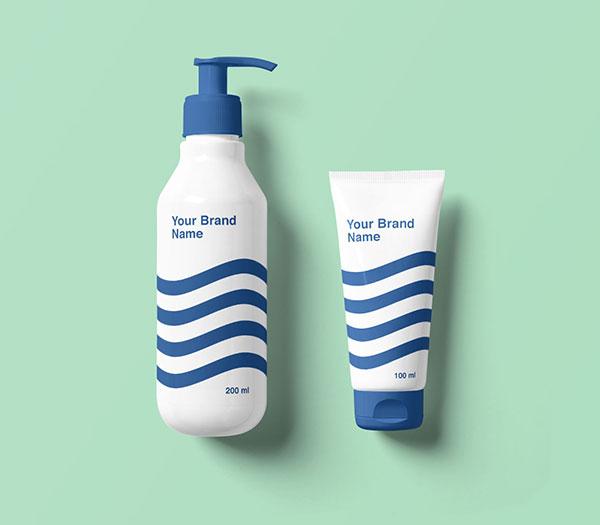 Free-Cosmetic-Pump-Bottle-Dispenser-Cream-Tube-Mockup-PSD
