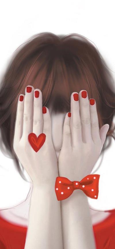 Girl-in-Love-iPhone-X-Wallpaper